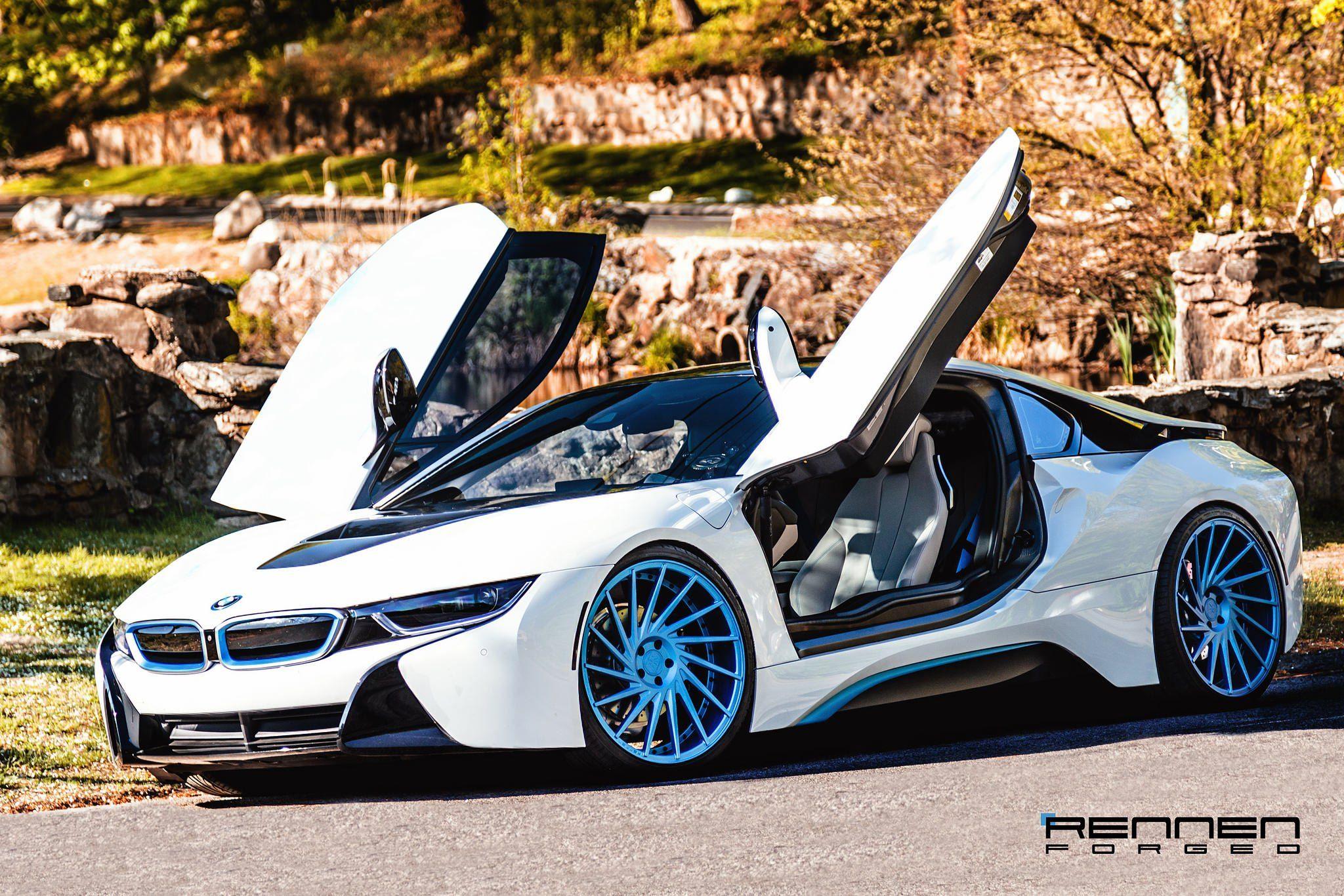 Revolutionary Machine White BMW i8 on Blue Rennen