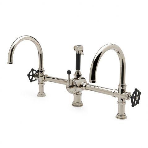 regulator gooseneck double spout marquee kitchen faucet