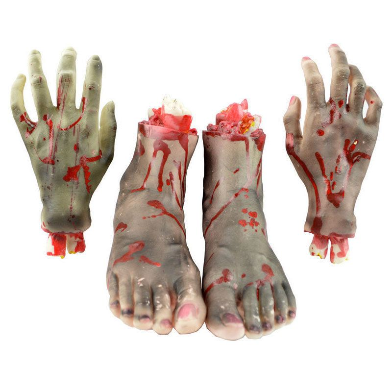 Life Size Body Part SEVERED BLOODY ZOMBIE FOOT Creepy Haunted House Horror Prop