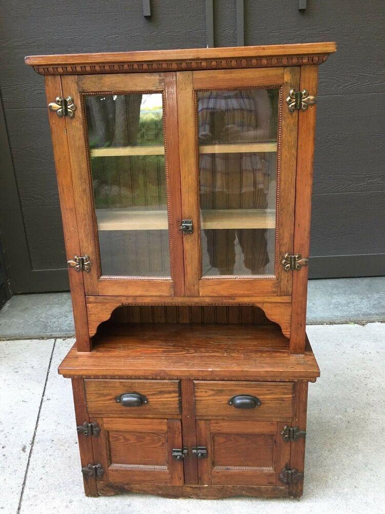 Wonderful Antique Oak Child's Kitchen Step Back Cupboard