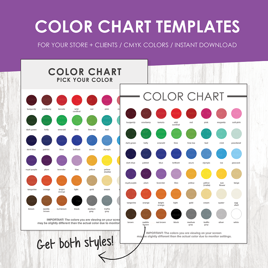 Color Chart Template Cmyk  Ui  Ux    Colour Chart