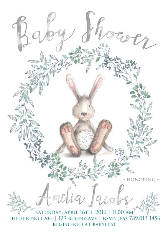 Bunny Baby Shower Invitation Printable Rabbit Invite