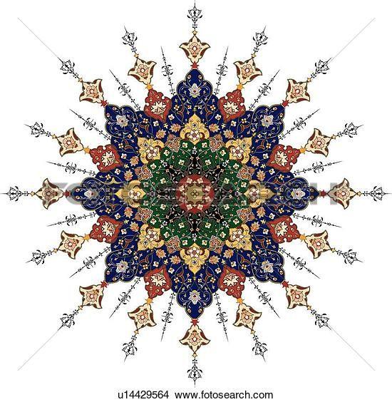 Red Blue Green And Tan Arabesque Design Clipart U14429564 Islamic Art Pattern Islamic Art Persian Pattern