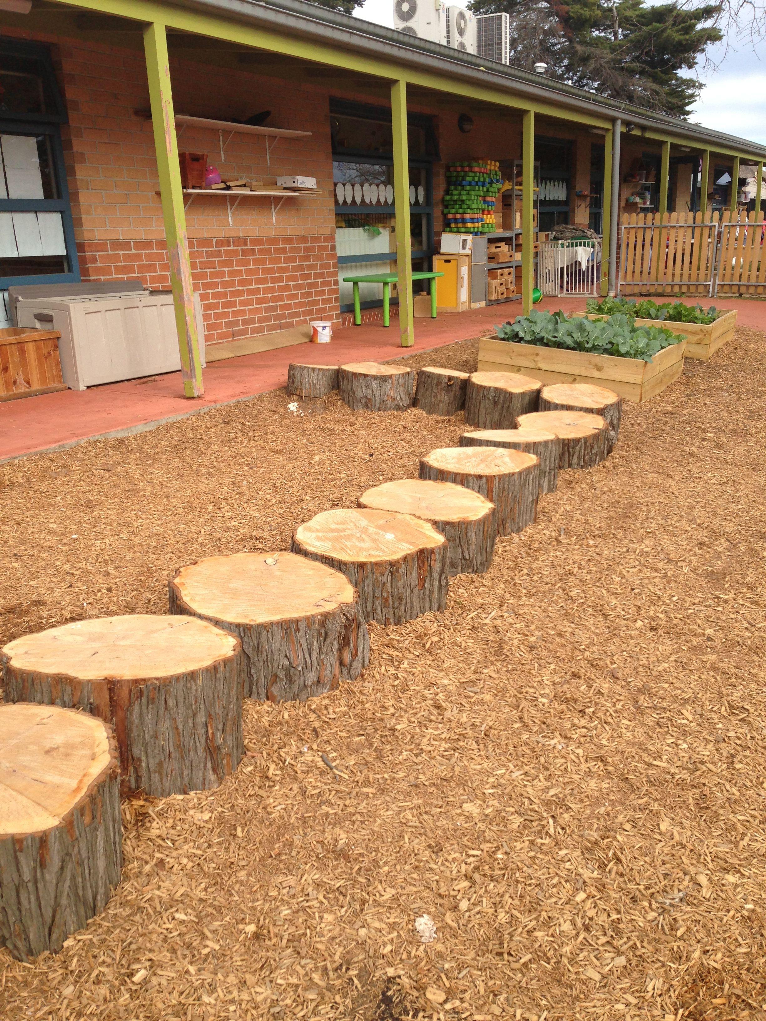 Creative Play ELC log path | Play area backyard, Natural ...