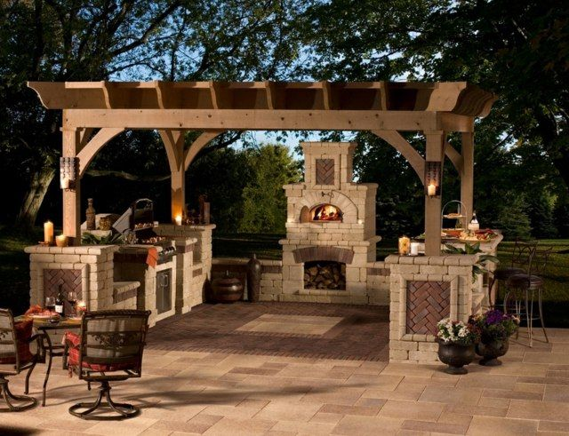 garten grillkamin pergola holz gartenk che selber bauen ofen. Black Bedroom Furniture Sets. Home Design Ideas