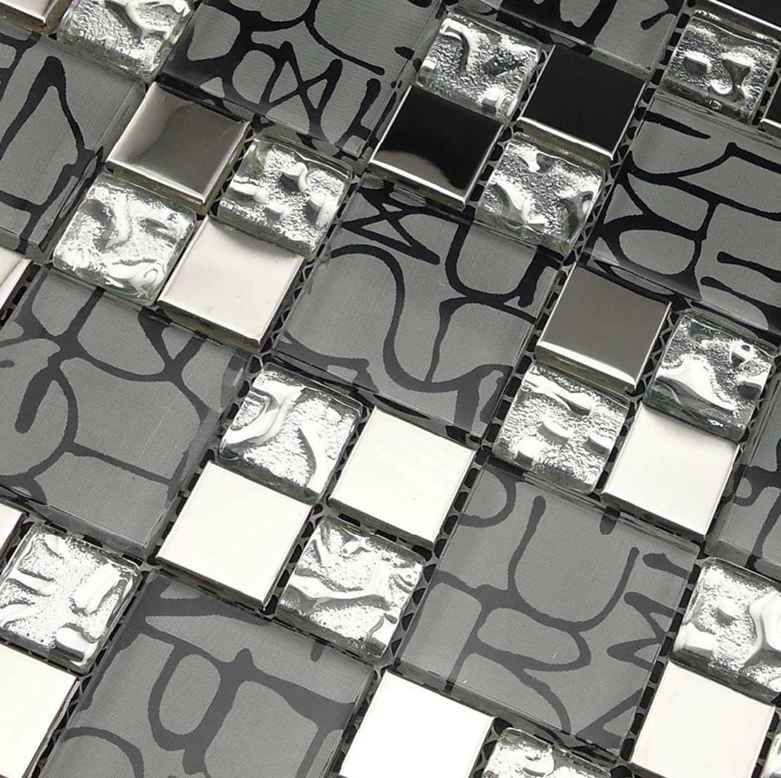 Stainless steel tile backsplash SSMT266 kitchen mosaic glass wall tiles FREE SHIPPING metal black glass mosaics