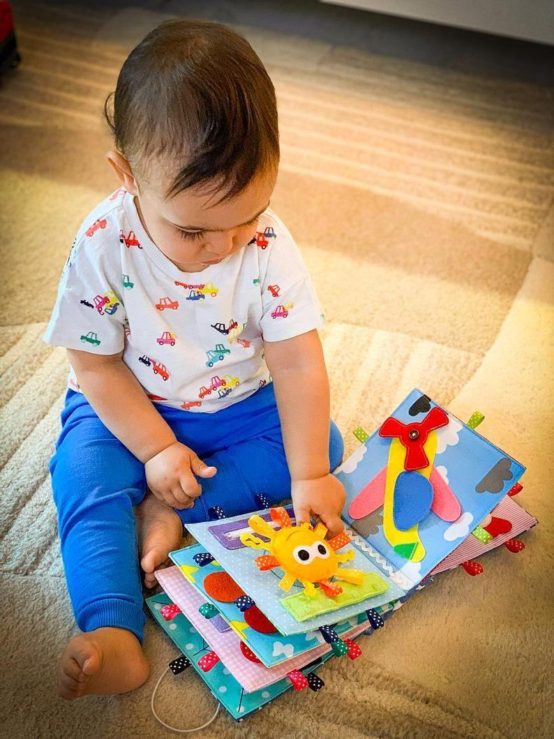 Baby quiet book 10 pages Montessori fine motor ski