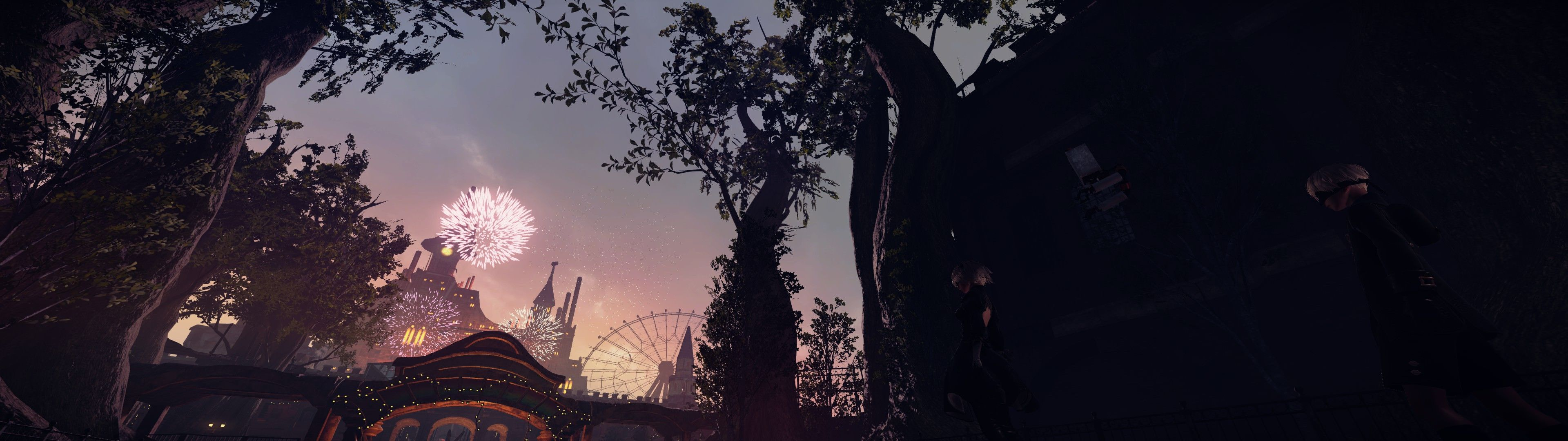 NieRAutomata Amusement Park Dual Screen Wallpapers 3840x1080