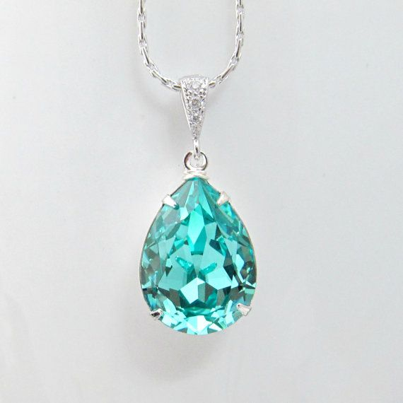 Tiffany Heart Bracelet >> Teal Blue Bridal Necklace Sea Green Teardrop Bride Pendant Wedding Jewelry Swarovski Crystal ...