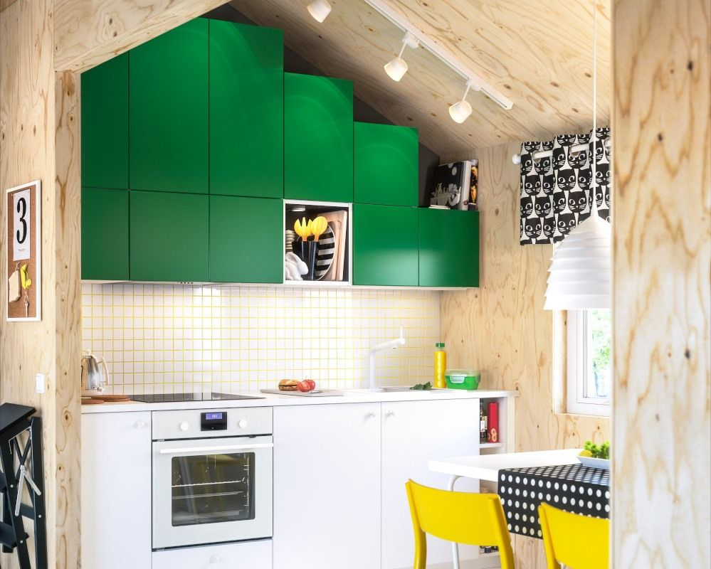 Kuchnia Na Poddaszu Strop Zielone Meble Ikea Kitchen Design Kitchen Dinning Cuisine Ikea