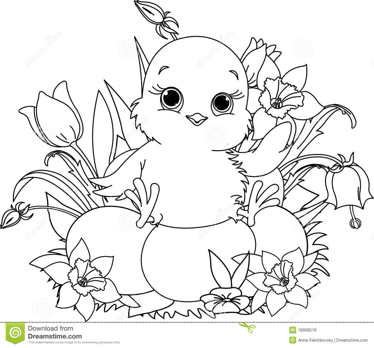 Happy Easter Chick. Coloring Page - Download From Over 30 Million ...