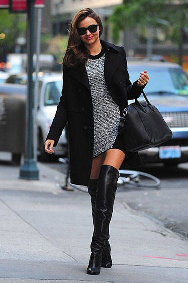 Street Style: A Miranda for All Seasons | Alexander Wang sweater dress, Givenchy wool coat, Hermes over-the-knee boots, Givenchy 'Antigona' bag and Flint 'Hasta Luego' sunglasses