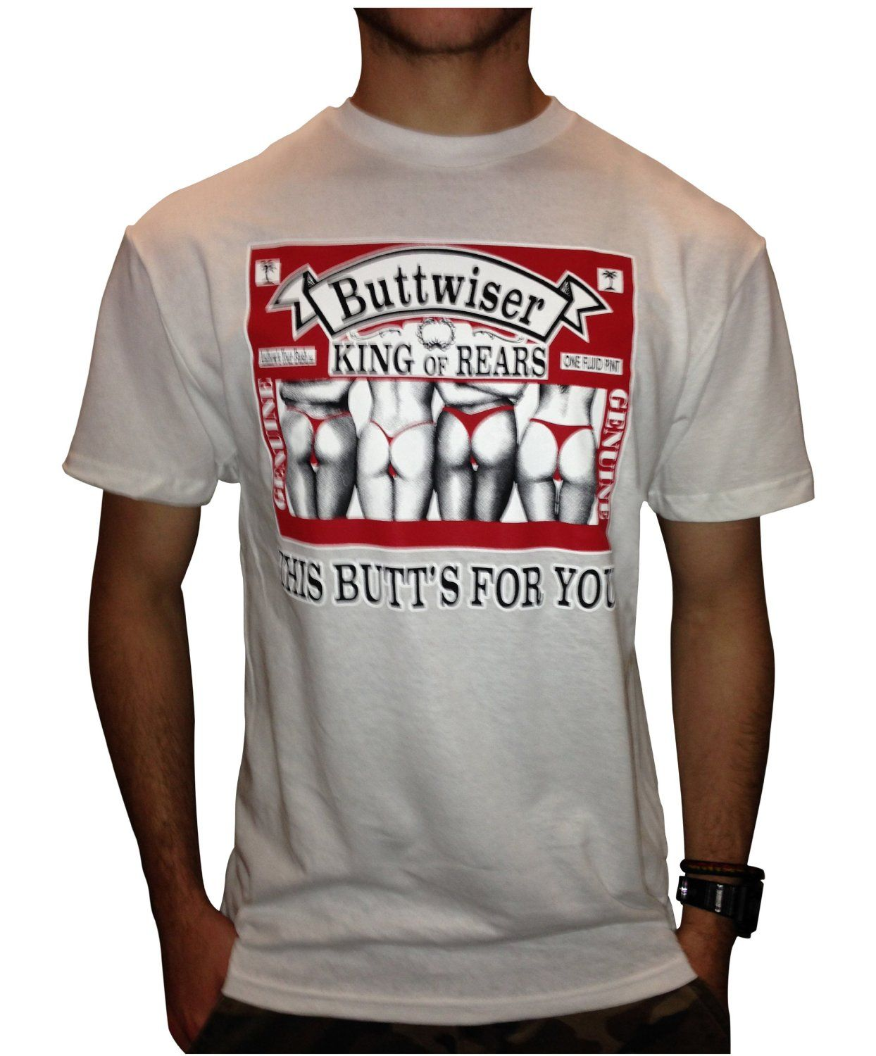 BUTTWISER Funny T-shirt / WHITE / SMALL / FAST Shipping | MEME ...