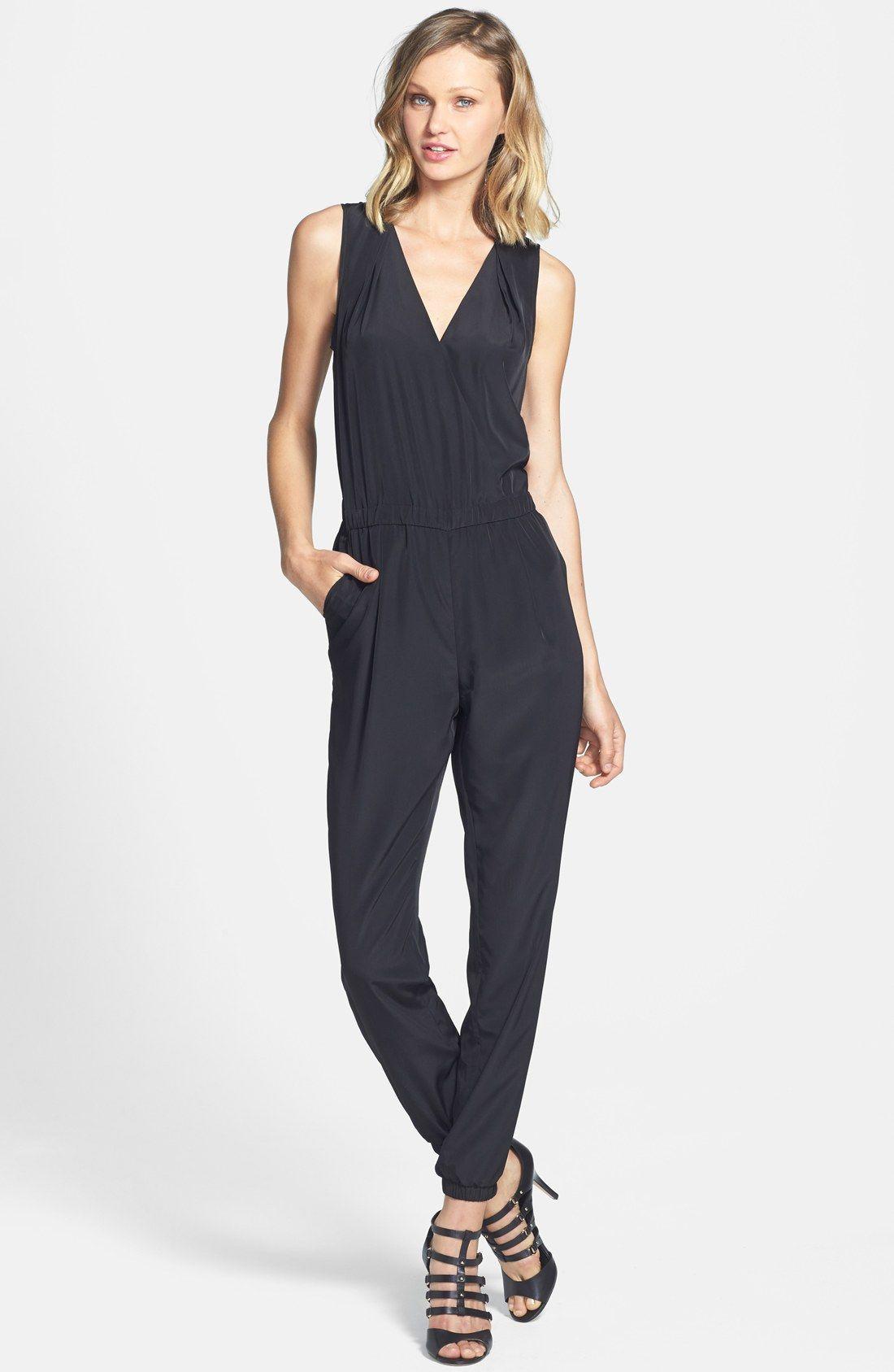 7a9404a5a723 Halogen® V-Neck Sleeveless Jumpsuit (Regular   Petite)