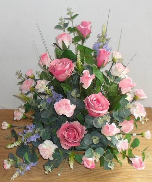 Silk Flowers For Church Altars: Artificial Silk Pink Rose Table Arrangement For Church