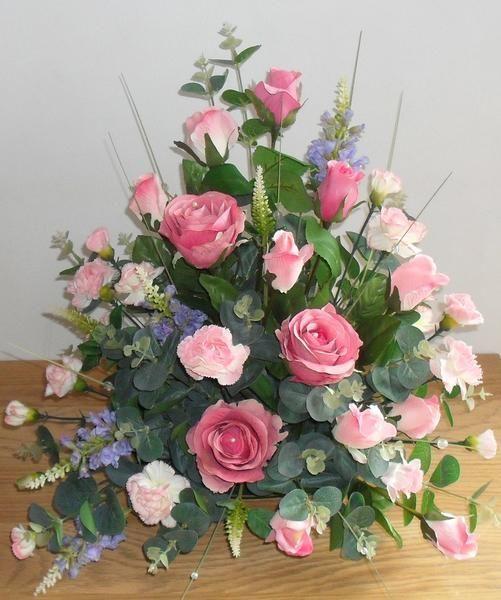 Artificial Silk Pink Rose Table Arrangement For Church Beautiful Silk Flower Arrangements Ch Fake Flower Arrangements Flower Arrangements Simple Altar Flowers
