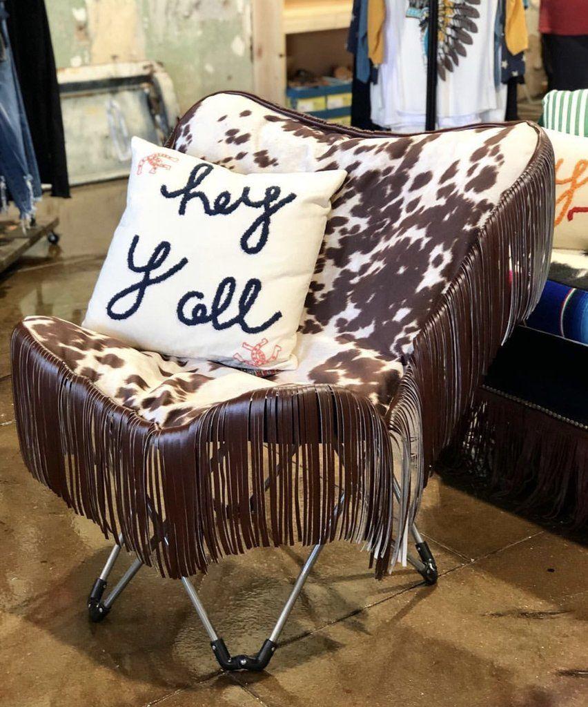 Chocolate cowprint folding chair in 2020 cow print