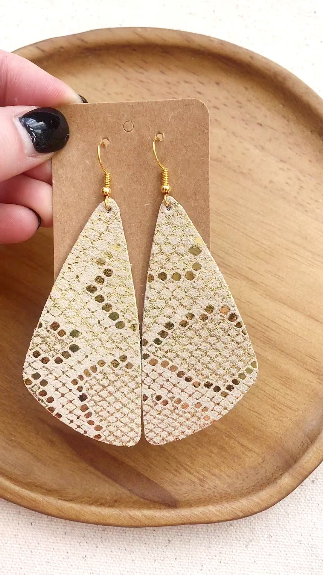 Photo of Gold Foil Snake Leather Earring