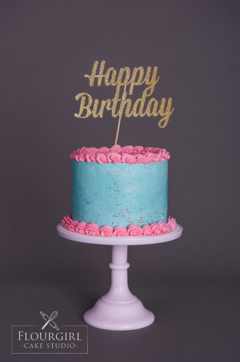 Pink and Blue Buttercream Cake Traditional Buttercream Cake