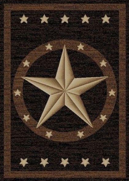 Western Stars Rug Black Brown Tan Texas Barn Star Rug Western Decor ~ 7  Sizes