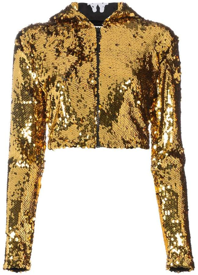 99644be2e91 Faith Connexion Embellished Cropped Hoodie