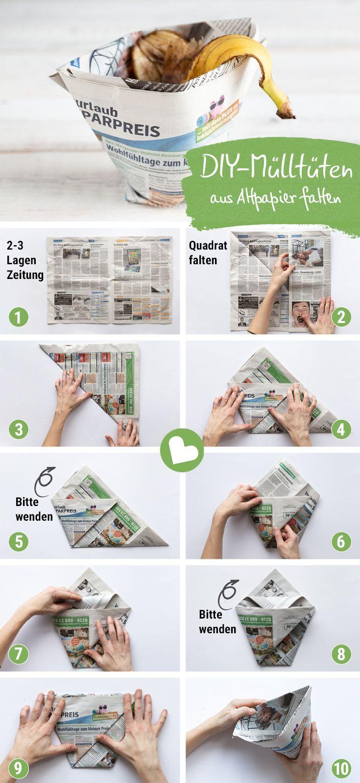 Mülltüten und Einkaufstüten ohne Kleben aus Zeitungspapier falten - mit Video