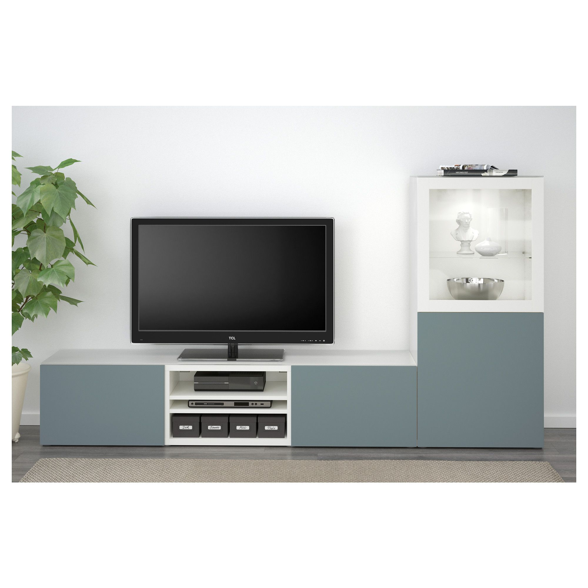 Best Tv Storage Combination Glass Doors White Valviken Gray  # Ikea Meuble Tv Besta Burs