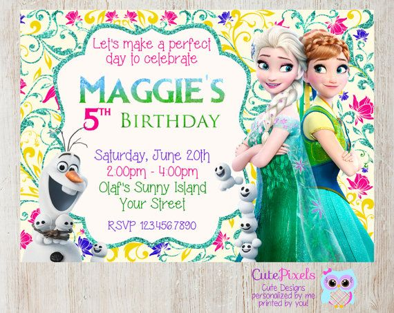 Frozen Fever Invitation, Click to see details, Use Coupon Code PIN15 to get 15%off - CutePixels shop http://etsy.me/1S7ksKd