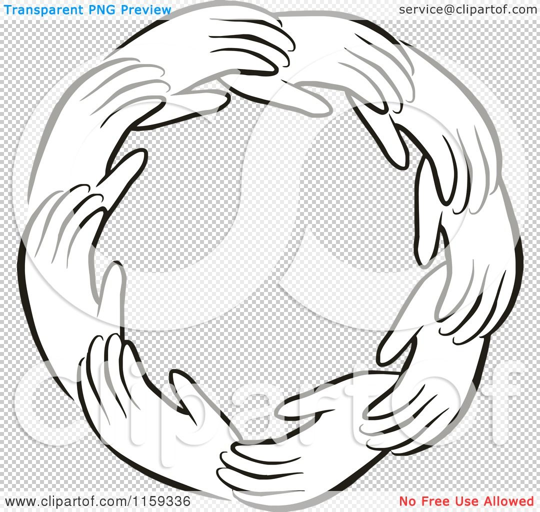 hands in a circle | Cartoon of a Black and White Circle of Hands - Royalty Free Vector ...