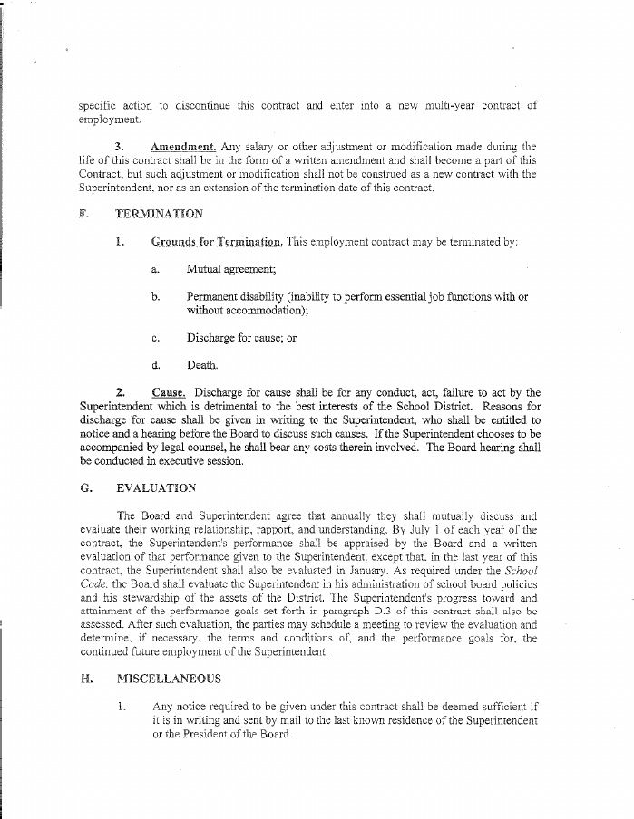 CHSD 155 Superintendent Johnnie Thomasu0027 contract Work Pinterest - mutual agreement contract