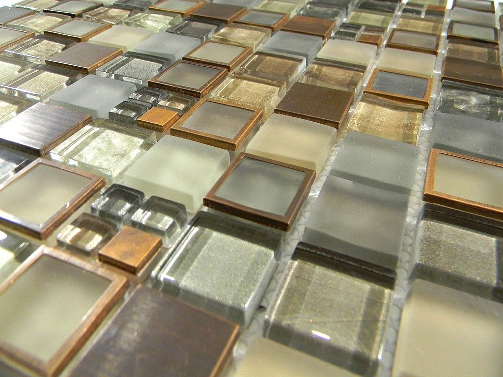 Manhattan Copper Metal and Glass Tile Blend 1x1 - for the bathroom ...