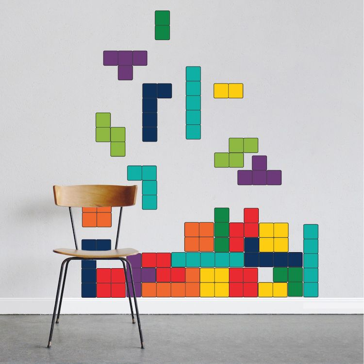 classic tetris wall decal - video game decal murals - primedecals