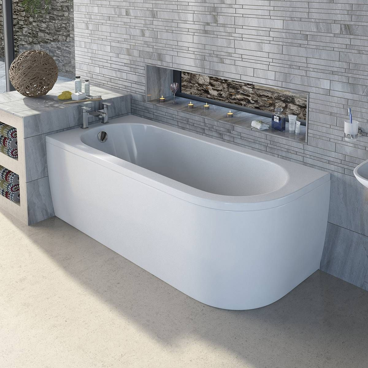 Superb Small Back To Wall Bath Part - 4: Cayman D Shaped Back To Wall Bath LH