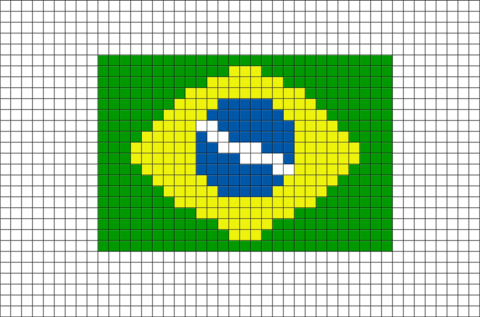 Brazil Flag Pixel Art
