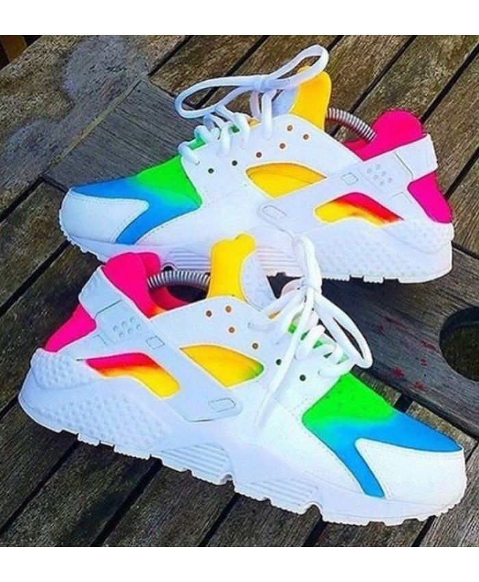 Nike Air Huarache Rainbow Yellow Pink Green Blue Trainer  bb72a40b3