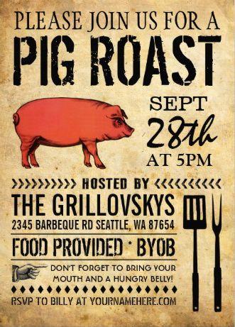 vintage rustic pig roast invitation ii pig roast invitations