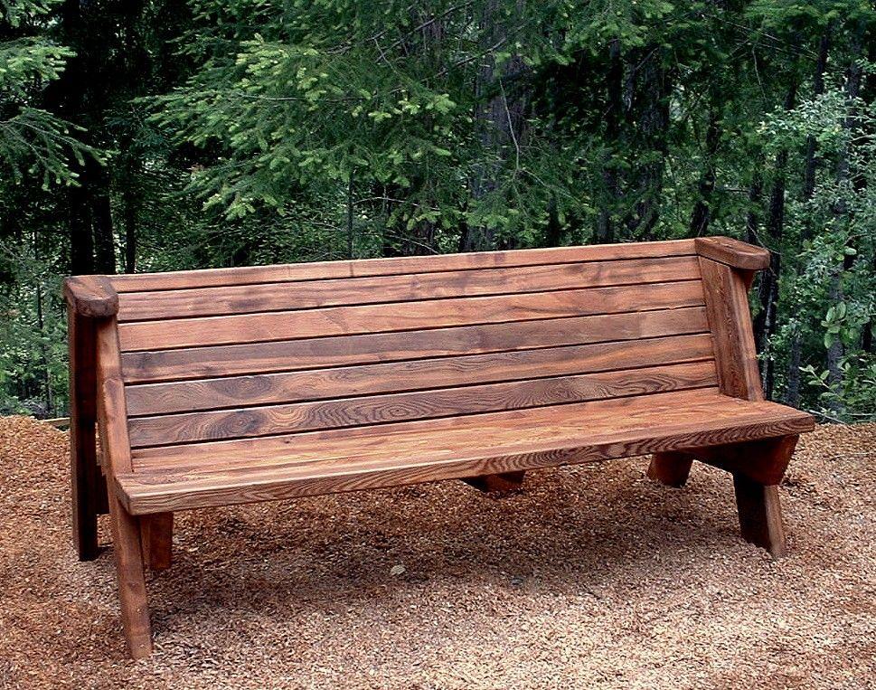 Rustic Bench - Park Benches   Forever Redwood   landscape ...
