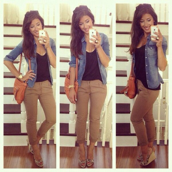 93f0be9817e Khaki pants with black tank top and denim jacket. Cute with wedges ...