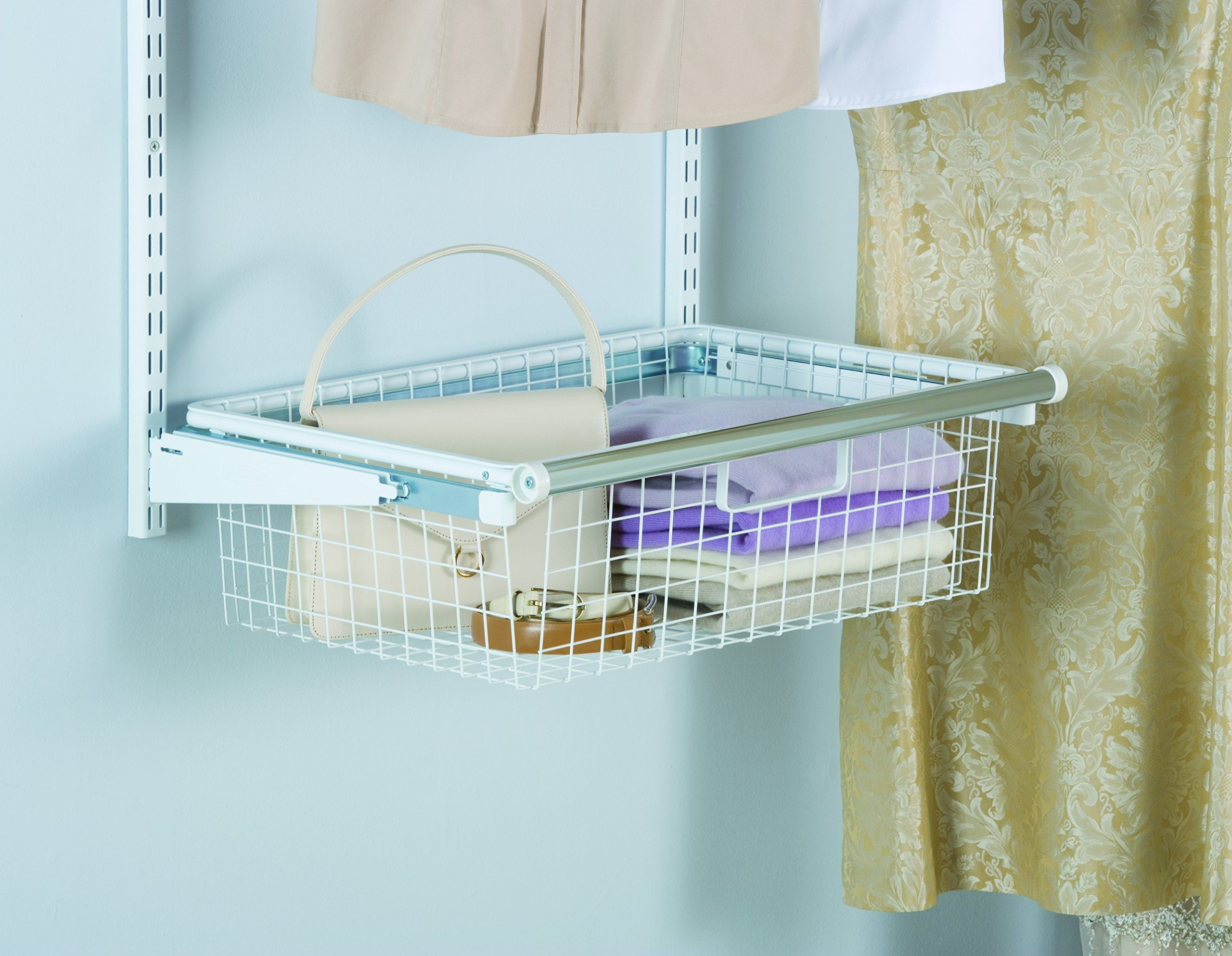 Rubbermaid Configurations Custom Closet Add On Sliding Wire Basket