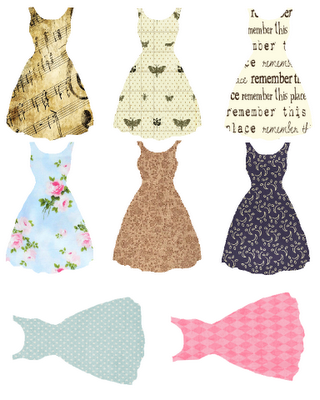 Free printable dresses. Use for tags, altered art, mixed media, scrapbooking, cardmaking and more! @Stephanie Ferris LOOKIE!