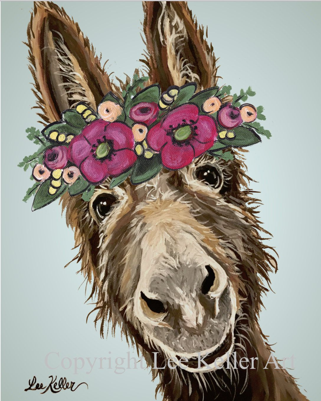 Donkey art print, Cute Donkey decor. Donkey prints. funny