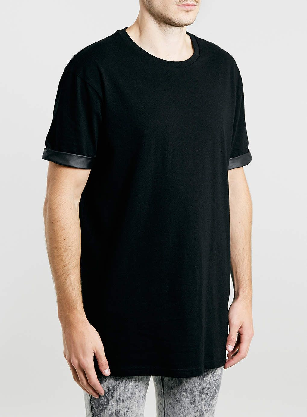 Black t shirt topman - Black Oversized Long Line Leather Look Roll T Shirt
