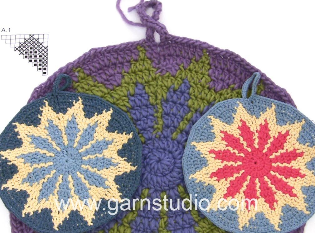 DROPS Crocheting Tutorial: How to work a pot holder with multi ...