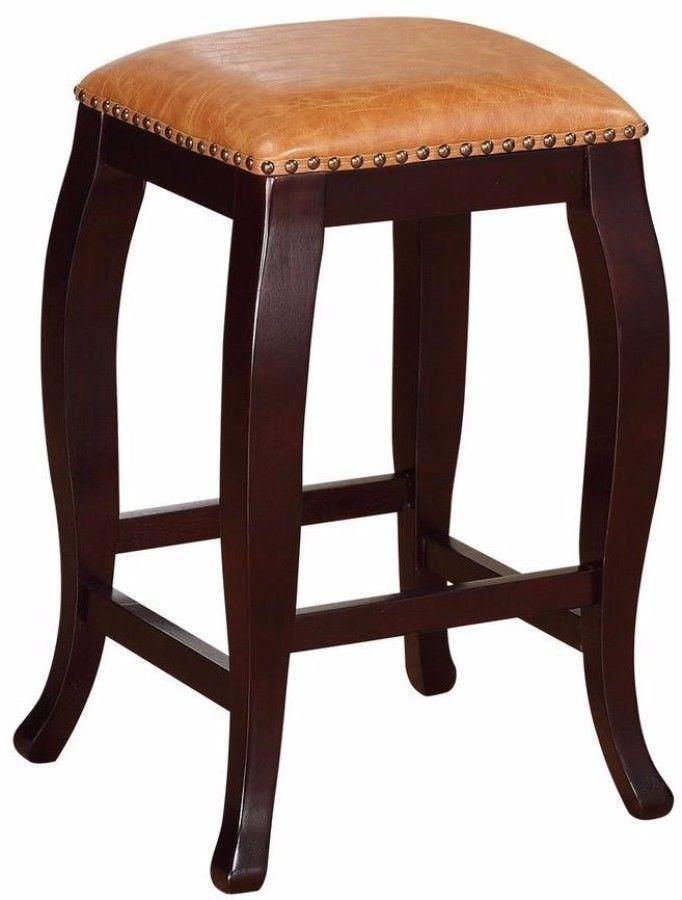 24 Inch Brown Cushioned Seat Bar Stool Kitchen Furniture Wenge