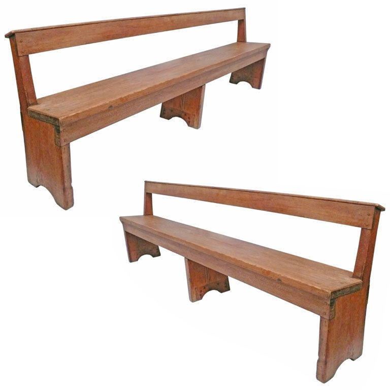 Large Scale Wooden Quaker Meeting Hall Bench