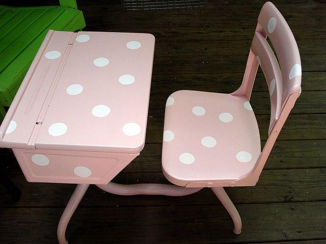 Pink Polka Dotted Vintage School Desk, Pink Wooden School Desk