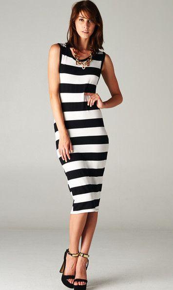 Striped Tank Midi Dress
