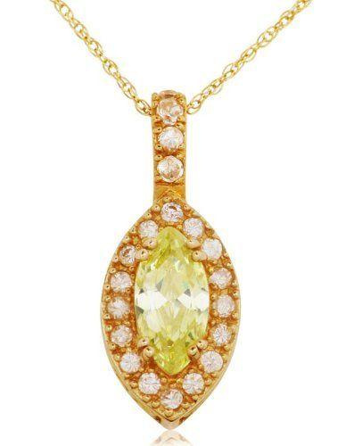 10k Yellow Gold and 2.82 ctw Peridot Cubic Zirconia Pendant Joolwe. $159.99
