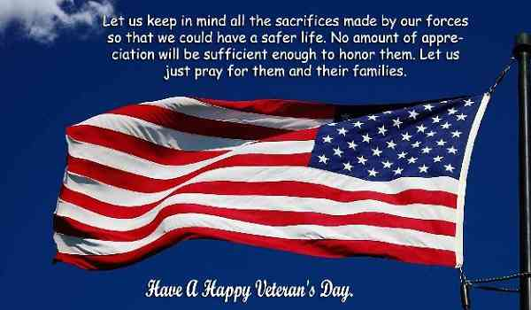 33 'Happy Veterans Day Messages' of Thank You for Cards
