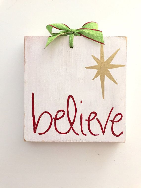 Christmas Believe sign, Christmas wood sign, Believe wooden sign ...